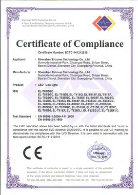 LED Tube -  LVD Certificate