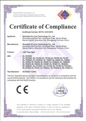LED Tube -  RoHS Certificate